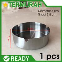 Mangkok Asbak rokok Stainless steel Bulat Murah ashtray kaleng 8CM