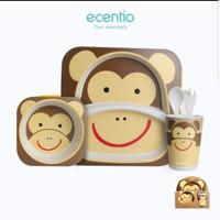 peralatan makan bayi set feeding 5 pcs bamboo fiber kado souvenir anak