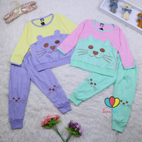 Piyama Chaca uk 1-10 Tahun / Baju Tidur Karakter Kaos Celana Panjang
