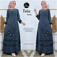 baju gamis wanita muslim jeans murah real pict-fatin