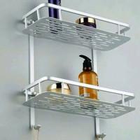 Rak Toilet Kamar Mandi 2 Susun Aluminium Tempat Peralatan Mandi