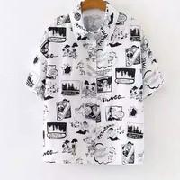 kemeja kartun vintage shirt hem blouse atasan baju wanita korea koran