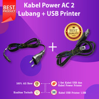 Kabel Power AC 2 Lubang + USB Printer Canon Epson HP Brother Xerox