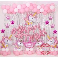 Paket Balon Set Ulang Tahun Birthday Karakter Unicorn Pony - Dengan Tirai