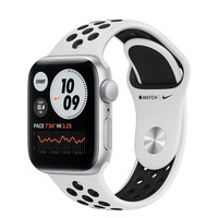 Apple Watch SE 44mm Silver Aluminum with Pure Platinum/Black Nike Band