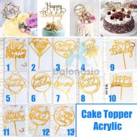 Cake Topper Ulang Tahun / Hiasan Kue Gold