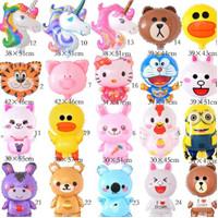 Balon Stik Foil Plastik Unicorn / Animal / Doraemon / Hello Kitty