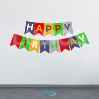 BANNER BIRTHDAY/BUNTING FLAG/DEKORASI ULANG TAHUN - COLORS 1
