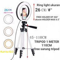 Ring light Tripod hp 1 METER lampu LED Selfie Ring light 26cm
