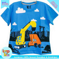 Baju Anak Lelaki Lengan Pendek Logokids Crane Turkis Blue 1-10 Tahun