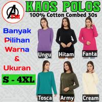 Kaos Wanita Polos Lengan Panjang Cotton Combed 30s Premium Size S-4XL - S