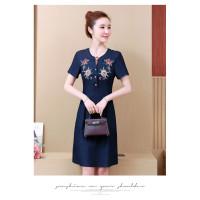 Dress denim wanita warna biru dongker motif cantik korea model terkini
