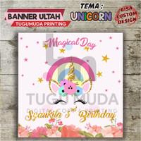 Cetak Banner|Backdrop|Spanduk Ultah/Ulang Tahun Anak - MAGICAL UNICORN