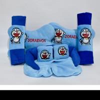 Bantal Mobil Doraemon Biru Car Pillow Set Kartun Doraemon Blue 3in1