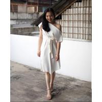 Helia Dress / Midi Dress Casual / Pakaian Wanita Bahan Scuba - Merah Muda