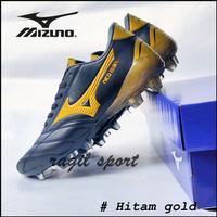 sepatu sepak bola mizuno - Hitam gold, 38
