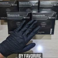 Sarung Tangan Latex Hitam Black Non Powder Merek Shamrock 50pcs