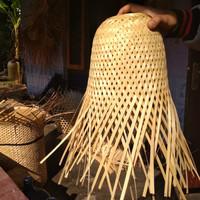 kap lampu bambu / tempat lampu krongso