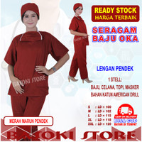 Baju Oka, Baju Jaga, Baju Perawat , Lengan Pendek, Pria /Wanita - Merah Marun, S