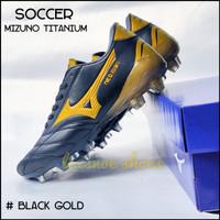 soccer shoes sepatu bola Mizuno titanium - Hitam gold, 39