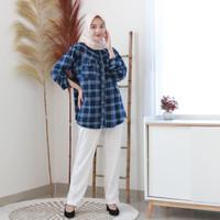 BASIC FLANEL Baju Atasan Muslim Kemeja Kotak Kotak Flanel Wanita Baru