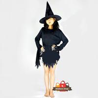 Kostum Witch Anak Topi Witch Kostum Halloween Baju Pesta Hitam Witch