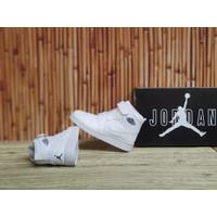 Sepatu Anak Nike Air Jordan 1 High Full White Kids Putih Polos