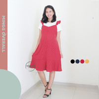 Mings Overall Dress Baju Hamil Menyusui Polkadot Kecil Modis - HO 80