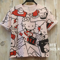 Baju Crop Hello Kitty / Kaos Crop Hello Kitty / Kaos Eanita Crop