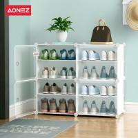 Aonez shoe organizer rak sepatu 2 baris 4 tingkat tempat sepatu rak - Putih, All Size