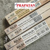 Kayu Balsa Sheet Persegi 1x1x100cm / Balsa Wood / Kayu Maket