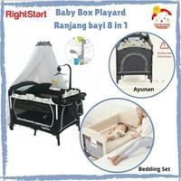 Right Start 8 in 1 Baby Box Playard Ranjang Bayi + Ayunan+bedding set