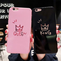 FOR OPPO F5, F7, F9, F7 YOUTH - KING QUEEN COUPLE PINK BLACK SOFT CASE
