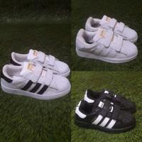 sepatu adidas anak superstar hitam putih ukuran 20 - 35 perekat velcro