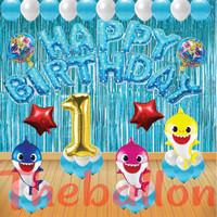 Dekorasi Paket Ulang Tahun Balon Foil Baby Shark Mewah