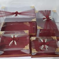 kotak hantaran pernikahan mika klambu isi 4 marun