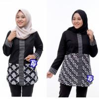 Baju Batik Blouse Kombinasi Motif Kijing Monokrom