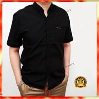 Kemeja Hitam Pria Lengan Pendek Cowok Premium Baju Kasual Kerja Formal