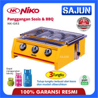 Niko NK-GR3 BBQ Grill Gas Kompor 3 Tungku - NKGR3 Pemanggang Sate, BBQ