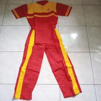 Baju Kodok mekanik wearpack Crew otomotif Oli Top1 F1 Lubricants Merah