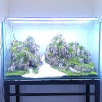 aquascape aquarium jadi fullset pegunungan 60cm/80cm