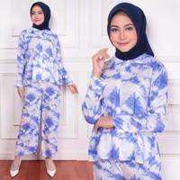 Tie Dye Pajamas Set Piyama Wanita Muslimah Sansan Katun Rayon Size L
