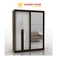 Lemari pakaian 3 pintu PRO DESIGN Sliding geser swing cermin putih