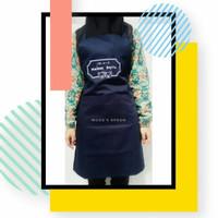 Apron celemek custom bordir logo untuk cafe bisa satuan COD pre order