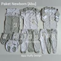 FLUFFY PERLENGKAPAN BAYI BARU - PAKET BAJU BAYI NEWBORN 0-3 BULAN ABU