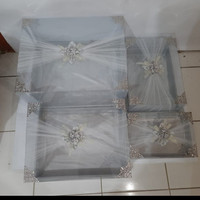 kotak Hantaran mika klambu silver