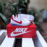Sepatu anak casual NIKE CORTEZ KIDS WHITE RED TALI / FREE KAUS KAKI