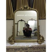 Cermin dinding ukir mewah gold