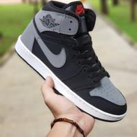 sepatu sneakers nike jordan abu hitam high ukuran 36 - 45 murah