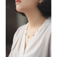 Butterfly Necklace 925 Sterling Silver Gold Plated - White Pearl